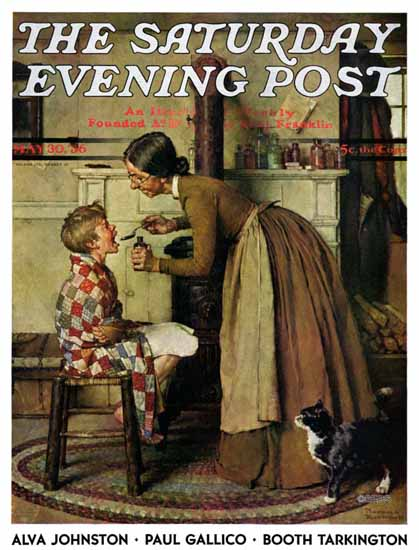 Norman Rockwell Saturday Evening Post Take Your Medicine 1936_05_30 | The Saturday Evening Post Graphic Art Covers 1931-1969