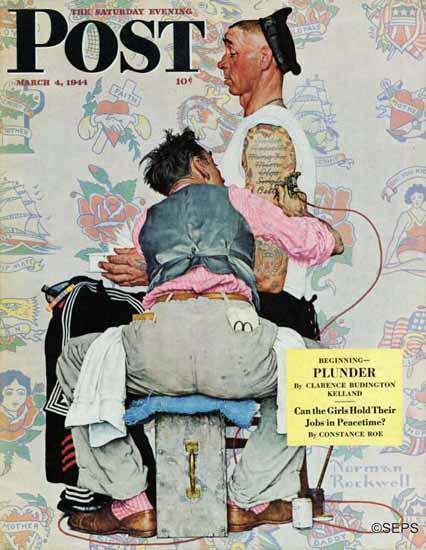 Norman Rockwell Saturday Evening Post Tattoo Artist 1944_03_04 | The Saturday Evening Post Graphic Art Covers 1931-1969