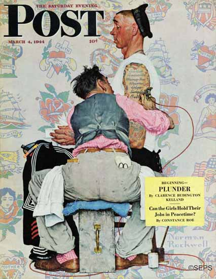Norman Rockwell Saturday Evening Post Tattoo Artist 1944_03_04 | 400 Norman Rockwell Magazine Covers 1913-1963