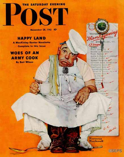 Norman Rockwell Saturday Evening Post Thanksgiving Blues 1942_11_28 | The Saturday Evening Post Graphic Art Covers 1931-1969