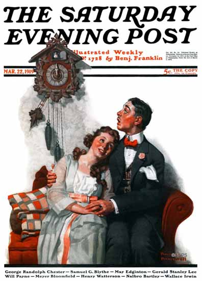 Norman Rockwell Saturday Evening Post The Cuckoo Clock 1919_03_22 | 400 Norman Rockwell Magazine Covers 1913-1963