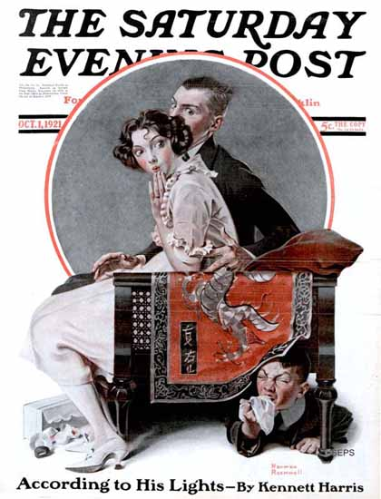 Norman Rockwell Saturday Evening Post The Eavesdropper 1921_10_01 | 400 Norman Rockwell Magazine Covers 1913-1963