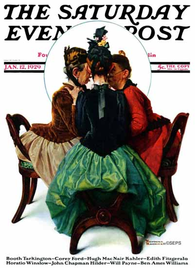 Norman Rockwell Saturday Evening Post The Gossips 1929_01_12 | 400 Norman Rockwell Magazine Covers 1913-1963
