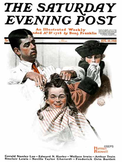 Norman Rockwell Saturday Evening Post The Haircut 1918_08_10 | 400 Norman Rockwell Magazine Covers 1913-1963