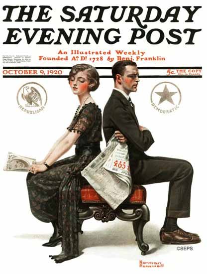 Norman Rockwell Saturday Evening Post The Political Trench 1920_10_09 | 400 Norman Rockwell Magazine Covers 1913-1963