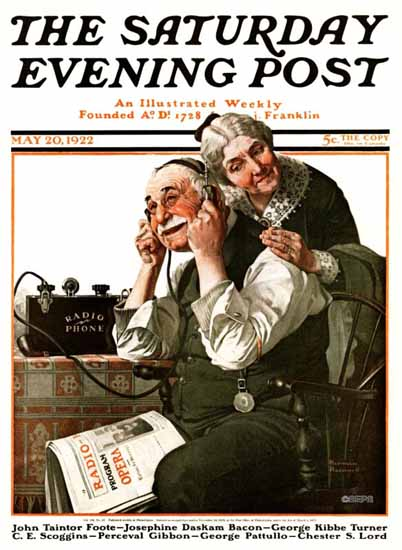 Norman Rockwell Saturday Evening Post The Radio Phone 1922_05_20 | The Saturday Evening Post Graphic Art Covers 1892-1930