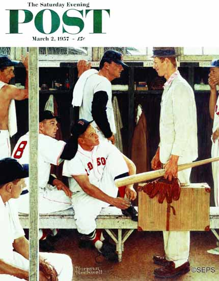 Norman Rockwell Saturday Evening Post The Rookie 1957_03_02 | 400 Norman Rockwell Magazine Covers 1913-1963