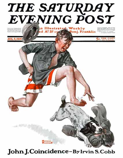 Norman Rockwell Saturday Evening Post The Stolen Pants 1919_08_09 | The Saturday Evening Post Graphic Art Covers 1892-1930