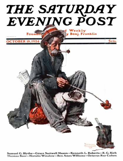 Norman Rockwell Saturday Evening Post The Tramp 1924_10_18 | 400 Norman Rockwell Magazine Covers 1913-1963