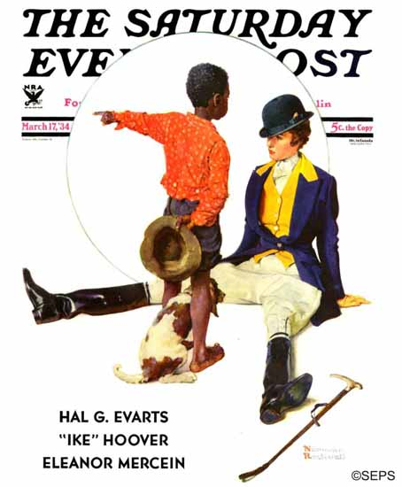 Norman Rockwell Saturday Evening Post Thrown from Horse 1934_03_17 | 400 Norman Rockwell Magazine Covers 1913-1963