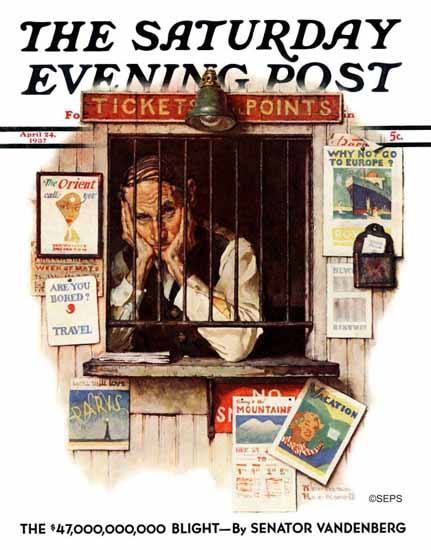 Norman Rockwell Saturday Evening Post Ticket Agent 1937_04_24 | 400 Norman Rockwell Magazine Covers 1913-1963