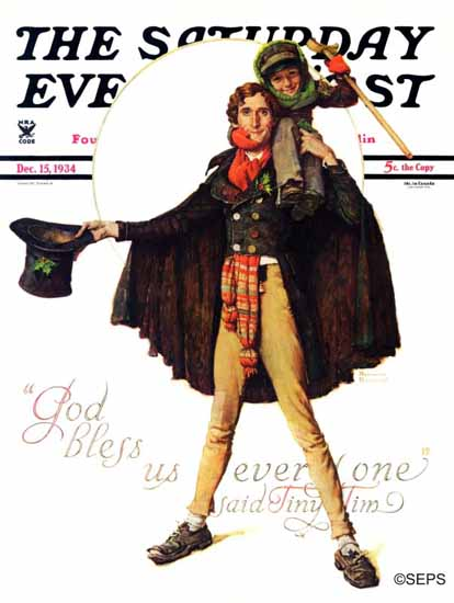 Norman Rockwell Saturday Evening Post Tiny Tim 1934_12_15   400 Norman Rockwell Magazine Covers 1913-1963