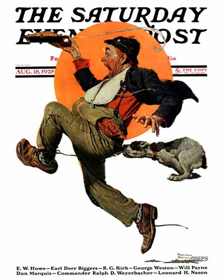 Norman Rockwell Saturday Evening Post Tramp on the Run 1928_08_18 | 400 Norman Rockwell Magazine Covers 1913-1963
