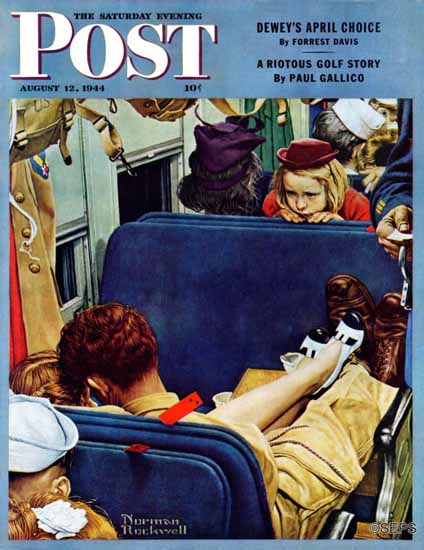 Norman Rockwell Saturday Evening Post Travel Experience 1944_08_12 | The Saturday Evening Post Graphic Art Covers 1931-1969