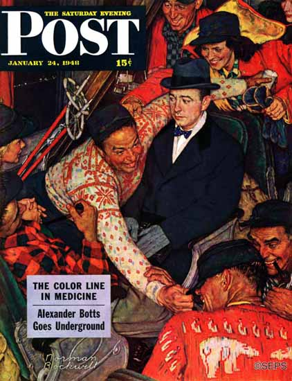 Norman Rockwell Saturday Evening Post Trip on a Ski Train 1948_01_24 | The Saturday Evening Post Graphic Art Covers 1931-1969
