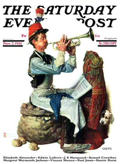 Norman Rockwell Saturday Evening Post Trumpeter 1931_11_07 | The Saturday Evening Post Graphic Art Covers 1931-1969