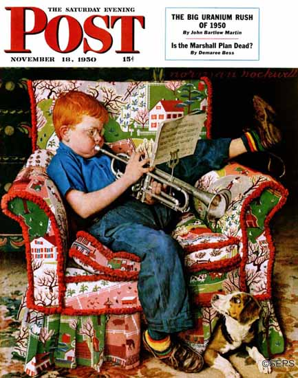 Norman Rockwell Saturday Evening Post Trumpeter 1950_11_18 | 400 Norman Rockwell Magazine Covers 1913-1963