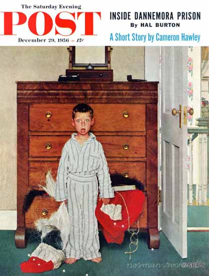 Norman Rockwell Saturday Evening Post Truth about Santa 1956_12_29 | The Saturday Evening Post Graphic Art Covers 1931-1969