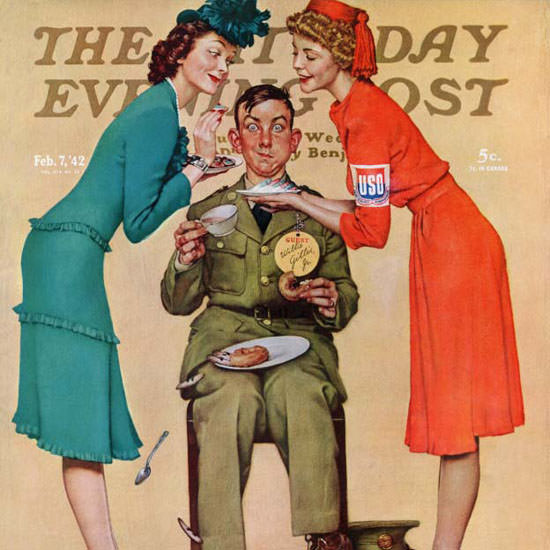 Norman Rockwell Saturday Evening Post USO 1942_02_07 Copyright crop | Best of Vintage Cover Art 1900-1970