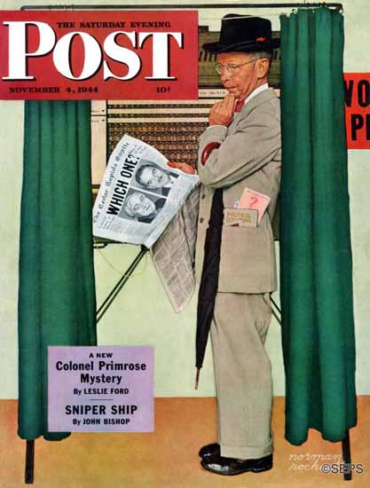 Norman Rockwell Saturday Evening Post Undecided 1944_11_04 | The Saturday Evening Post Graphic Art Covers 1931-1969