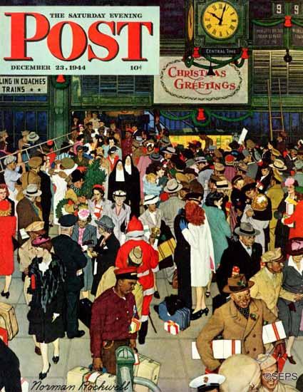 Norman Rockwell Saturday Evening Post Union Station 1944_12_23 | The Saturday Evening Post Graphic Art Covers 1931-1969