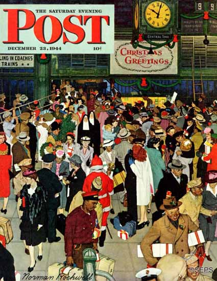 Norman Rockwell Saturday Evening Post Union Station 1944_12_23 | 400 Norman Rockwell Magazine Covers 1913-1963