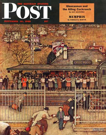 Norman Rockwell Saturday Evening Post Waiting Crestwood 1946_11_16 | The Saturday Evening Post Graphic Art Covers 1931-1969
