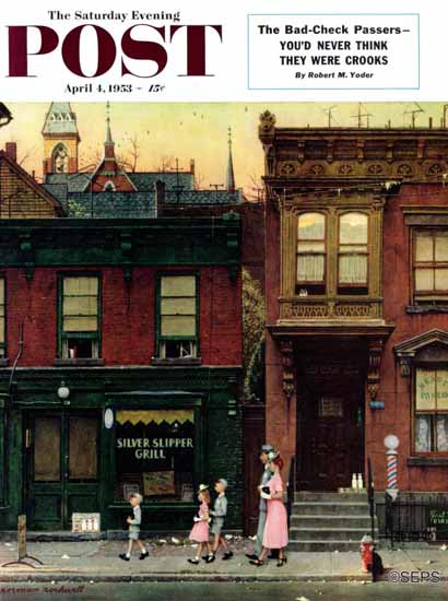 Norman Rockwell Saturday Evening Post Walking to Church 1953_04_04 | 400 Norman Rockwell Magazine Covers 1913-1963