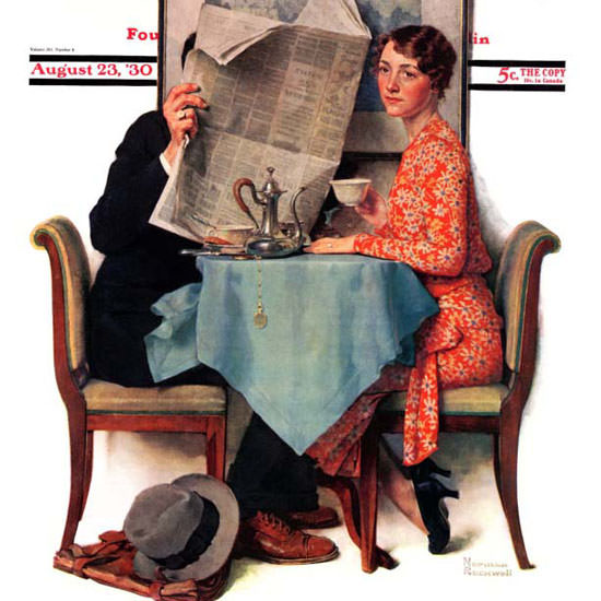 Norman Rockwell Saturday Evening Post Wall 1930_08_23 Copyright crop | Best of Vintage Cover Art 1900-1970
