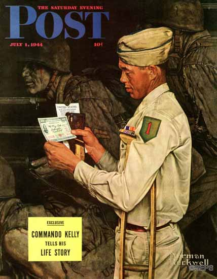 Norman Rockwell Saturday Evening Post War Bond 1944_07_01 | 400 Norman Rockwell Magazine Covers 1913-1963