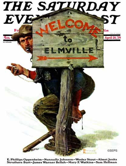 Norman Rockwell Saturday Evening Post Welcome to Elmville 1929_04_20 | The Saturday Evening Post Graphic Art Covers 1892-1930