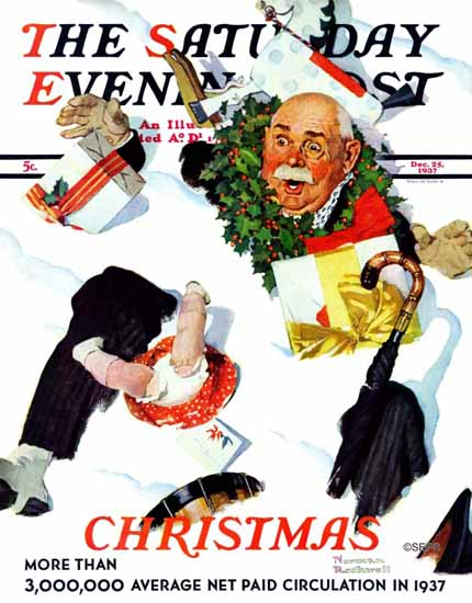 Norman Rockwell Saturday Evening Post White Christmas 1937_12_25 | 400 Norman Rockwell Magazine Covers 1913-1963