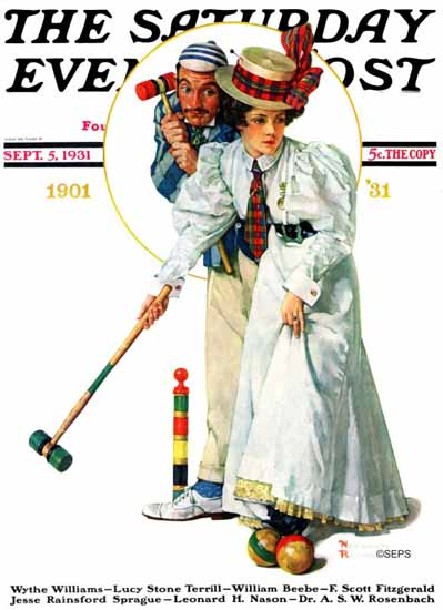 Norman Rockwell Saturday Evening Post Wicket Thoughts 1931_09_05 | The Saturday Evening Post Graphic Art Covers 1931-1969