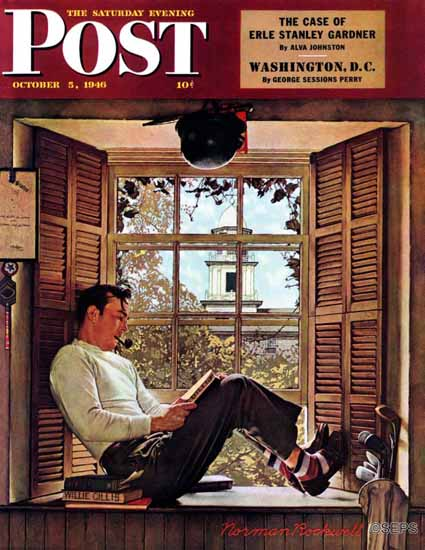 Norman Rockwell Saturday Evening Post Willie Gillis College 1946_10_05 | The Saturday Evening Post Graphic Art Covers 1931-1969