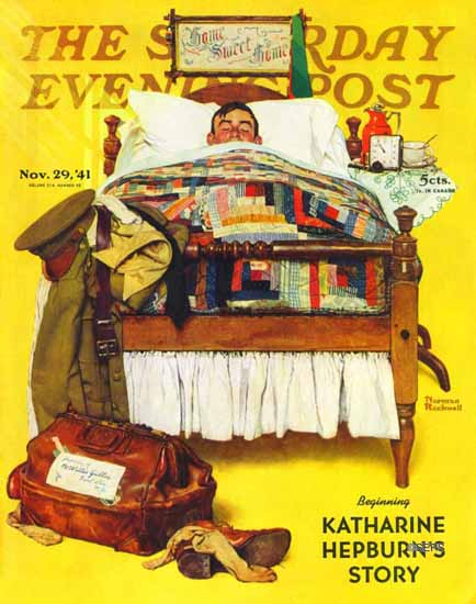 Norman Rockwell Saturday Evening Post Willie Gillis Home 1941_11_29 | The Saturday Evening Post Graphic Art Covers 1931-1969