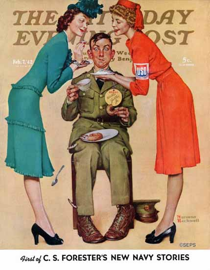 Norman Rockwell Saturday Evening Post Willie Gillis at USO 1942_02_07 | The Saturday Evening Post Graphic Art Covers 1931-1969