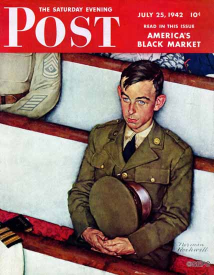 Norman Rockwell Saturday Evening Post Willie Gillis in Church 1942_07_25 | The Saturday Evening Post Graphic Art Covers 1931-1969