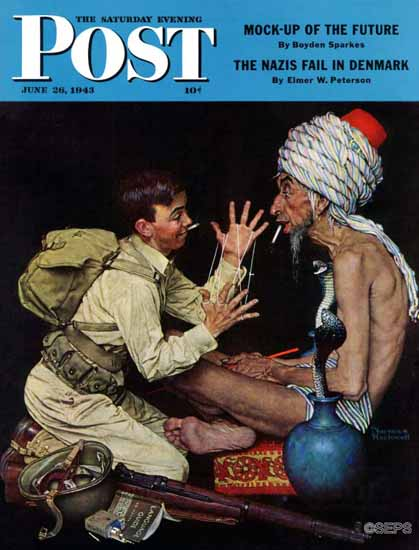 Norman Rockwell Saturday Evening Post Willies Rope Trick 1943_06_26 | The Saturday Evening Post Graphic Art Covers 1931-1969