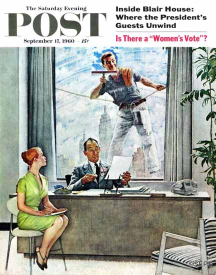 Norman Rockwell Saturday Evening Post Window Washer 1960_09_17 | The Saturday Evening Post Graphic Art Covers 1931-1969
