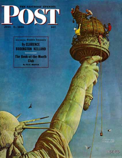 Norman Rockwell Saturday Evening Post Working on Liberty 1946_07_06 | The Saturday Evening Post Graphic Art Covers 1931-1969