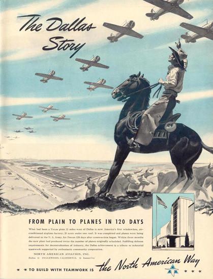 North American Aviation Inc Dallas Cowboy 1941 | Vintage Ad and Cover Art 1891-1970