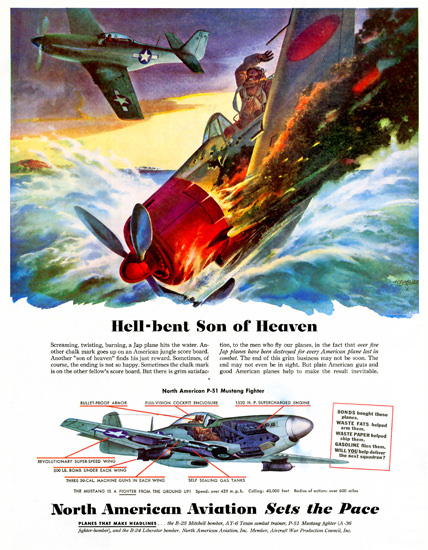 North American Aviation P-51 Mustang Figther | Vintage War Propaganda Posters 1891-1970