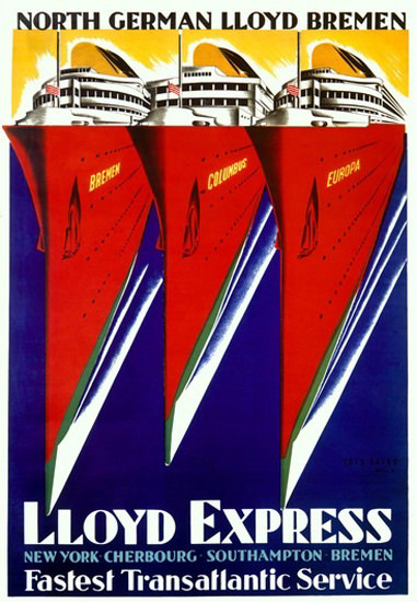 North German Lloyd Bremen Express Columbus | Vintage Travel Posters 1891-1970