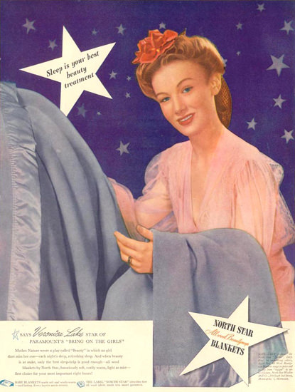 North Star Blankets 1944 | Sex Appeal Vintage Ads and Covers 1891-1970