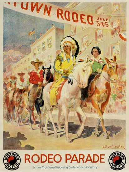 Northern Pacific Rodeo Parade Montana Wyoming | Vintage Travel Posters 1891-1970