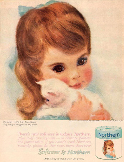 Northern Toilet Paper Girl And Little Cat 1961 | Vintage Ad and Cover Art 1891-1970