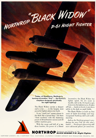 Northrop Black Widow P-61 Night Fighter 1944 | Vintage War Propaganda Posters 1891-1970