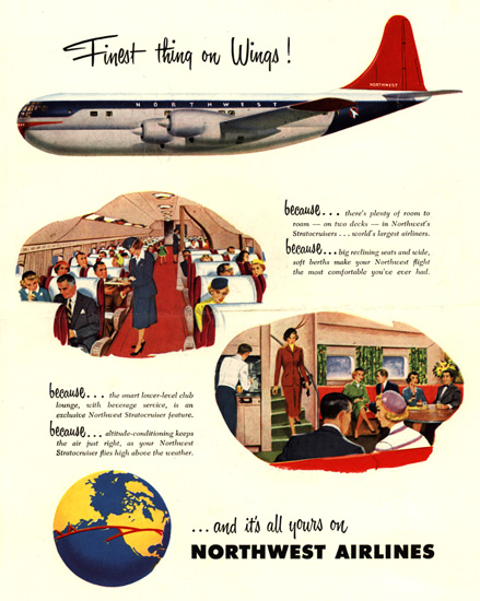 Northwest Airlines Canada Japan Korea Okinawa | Vintage Travel Posters 1891-1970
