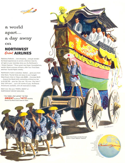 Northwest Orient Air Gion Matsuri Festival 1955 | Vintage Travel Posters 1891-1970