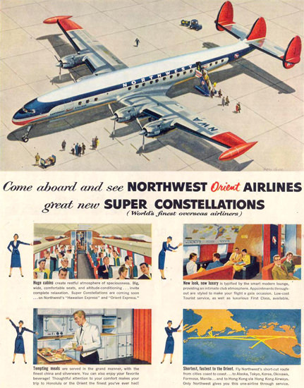 Northwest Orient Air Super Constallation 1955 | Vintage Travel Posters 1891-1970